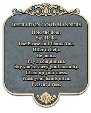 OPERATION GOOD MANNERS: Hold the door. Say Hello. Use Please and Thank You. Offer to help. Be polite. Pay a compliment. Say you're sorry (and mean it). Clean up your mess. Wash your hands often. Present a rose. Share with others. Repeat.